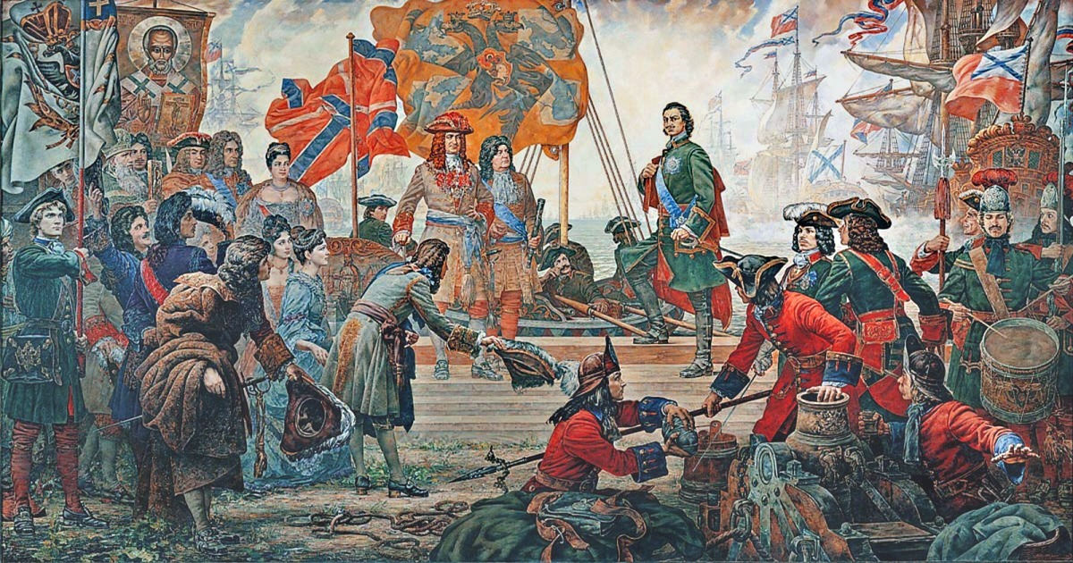 Portrait of Peter the Great and his Navy